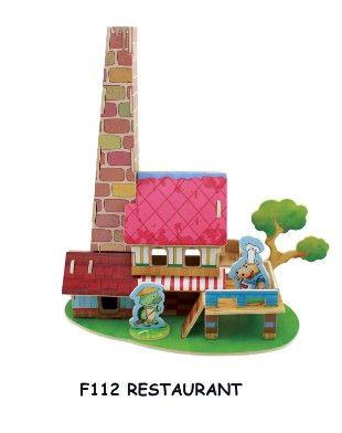 Dřevěné hračky RoboTime 3D puzzle restaurace