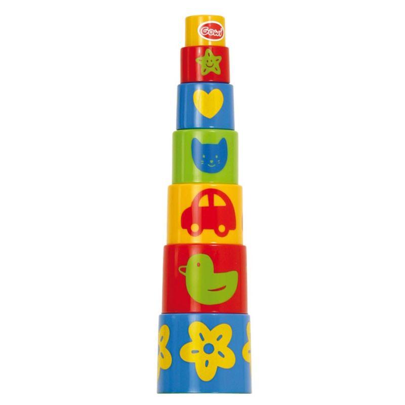Dřevěné hračky Gowi Pyramida s obrázky
