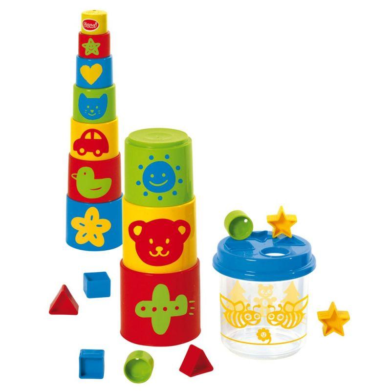 Dřevěné hračky Gowi Pyramida s obrázky a kyblík s vhazováním tvarů