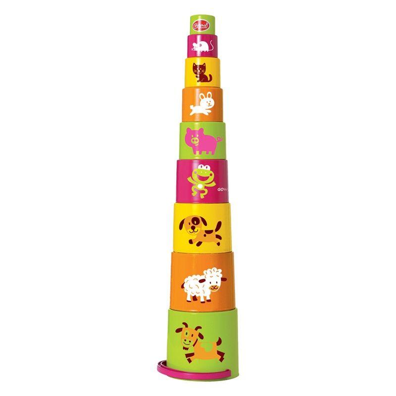 Dřevěné hračky Gowi Pyramida s obrázky zvířátek