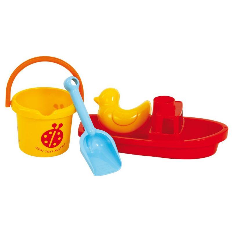 Dřevěné hračky Gowi Set loďky a beruškou