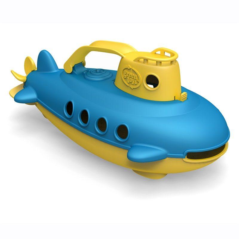 Dřevěné hračky Green Toys Ponorka žlutá rukojeť