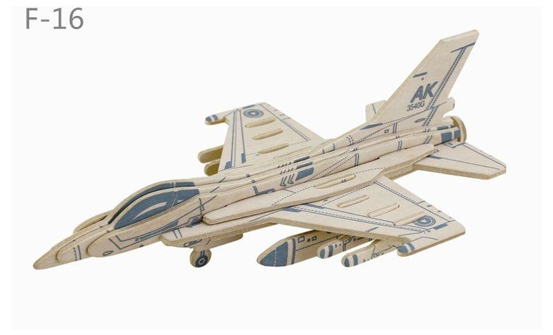 Dřevěné hračky RoboTime Dřevěná skládačka americká stíhačka F16