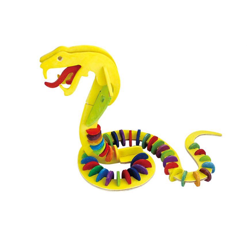 Dřevěné hračky RoboTime Dřevěná skládačka had + barvy a štětec