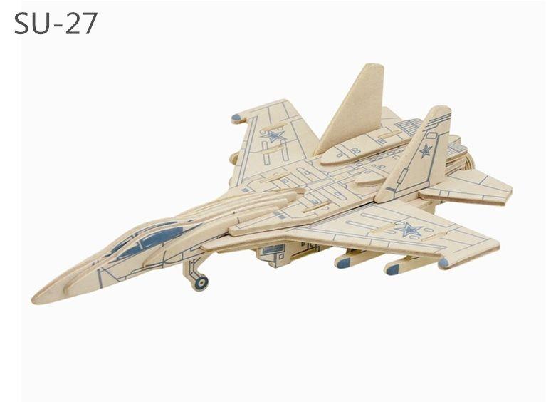Dřevěné hračky RoboTime Dřevěná skládačka ruská stíhačka SU-27