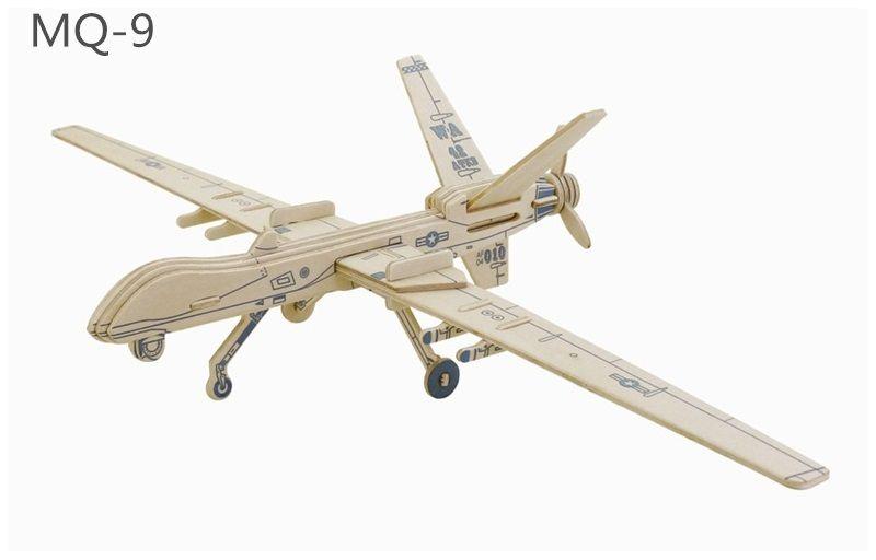 Dřevěné hračky RoboTime Dřevěné skládačky 3D puzzle Drone MQ 9