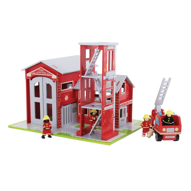 Dřevěné hračky Bigjigs Toys Dřevěný set hasiči