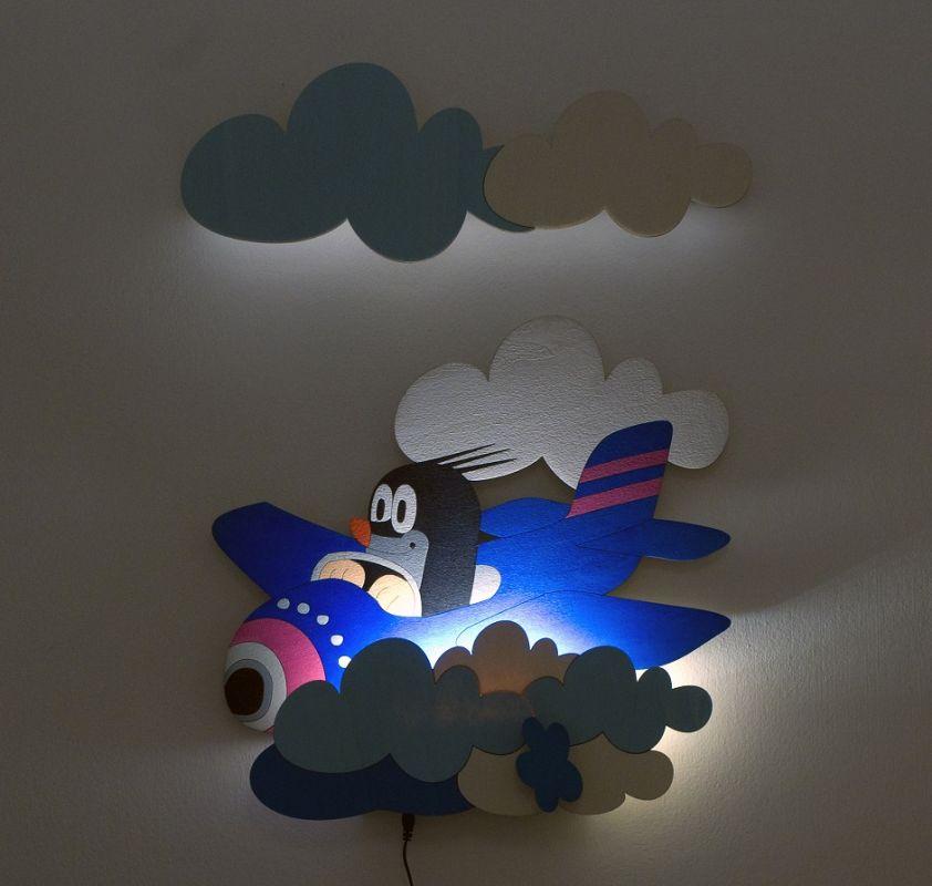 Dřevěné hračky DoDo Dětská LED lampička krtek v letadle