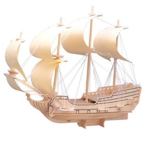 Dřevěné hračky Dřevěná skládačka - Loď plachetnice Orel P128 Woodcraft construction kit