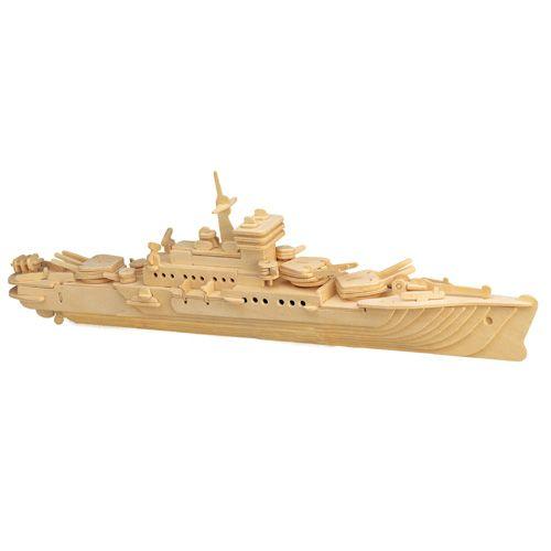 Dřevěné hračky Dřevěné 3D puzzle - dřevěná skládačka - Loď křižník P047 Woodcraft construction kit