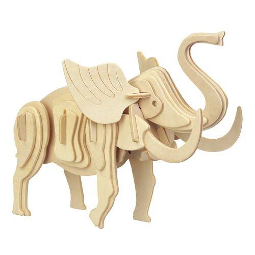 Dřevěné hračky Woodcraft Dřevěné 3D puzzle malý slon Woodcraft construction kit
