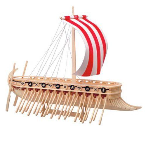 Dřevěné hračky Dřevěné 3D puzzle lodě dřevěná skládačka Fénická Galéra P130 Woodcraft construction kit