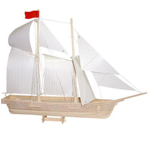Dřevěné hračky Dřevěné 3D puzzle lodě - dřevěná skládačka - Loď škuner P150 Woodcraft construction kit