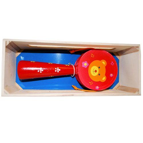 Dřevěné hračky HJ Toys Dřevěný bubínek s rukojetí červený