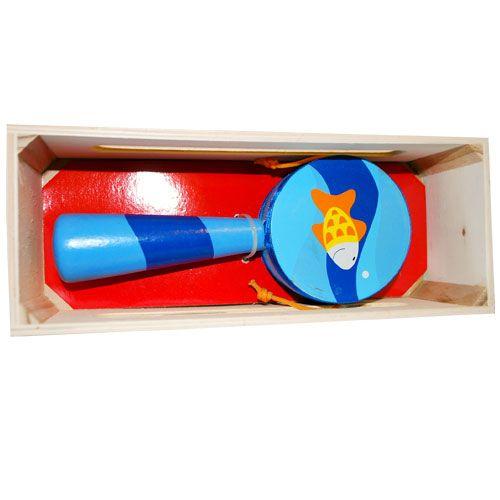 Dřevěné hračky HJ Toys Dřevěný bubínek s rukojetí modrý