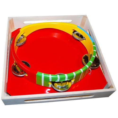 Dřevěné hračky Dřevěné hračky - Dětské hudební nástroje -Tamburína barevná HJ Toys