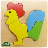 Lena Dřevěné puzzle kohout