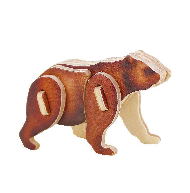 Dřevěné hračky RoboTime Dřevěné střední 3D puzzle medvěd
