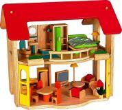 Domeček pro panenky- Dřevěný domeček Šťastný domov + nábytek