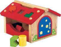 Dřevěná hračka - Vhazování tvarů do domečku