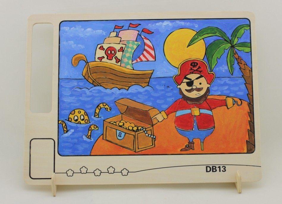 Dřevěné hračky RoboTime Dřevěná oboustranná omalovánka pirát