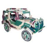 Dřevěné 3D puzzle dřevěná skládačka auta - Jeep PC123