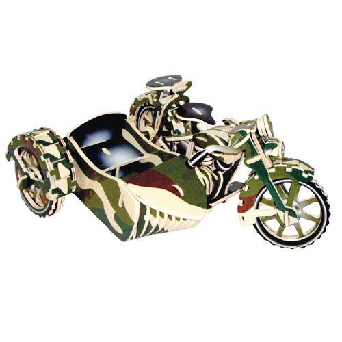 Dřevěné hračky Woodcraft Dřevěné 3D puzzle motorka trojkolka Saidkára Woodcraft construction kit