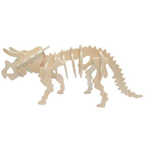 Dřevěné hračky Dřevěné 3D puzzle skládačka - dinosauři Triceratops Woodcraft construction kit