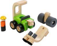 Dřevěné hračky - dřevěné auto - Parní válec s kartáči