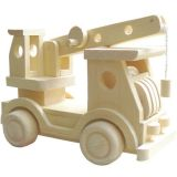 HJ Toys Dřevěné auto jeřáb