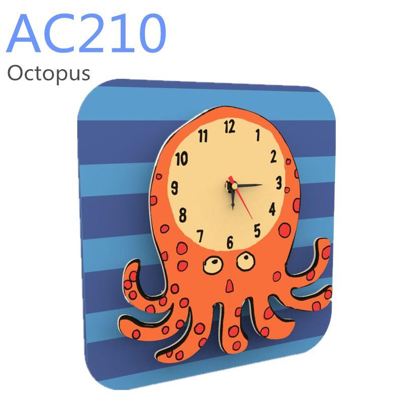 Dřevěné hračky RoboTime 3D puzzle hodiny se strojkem chobotnice