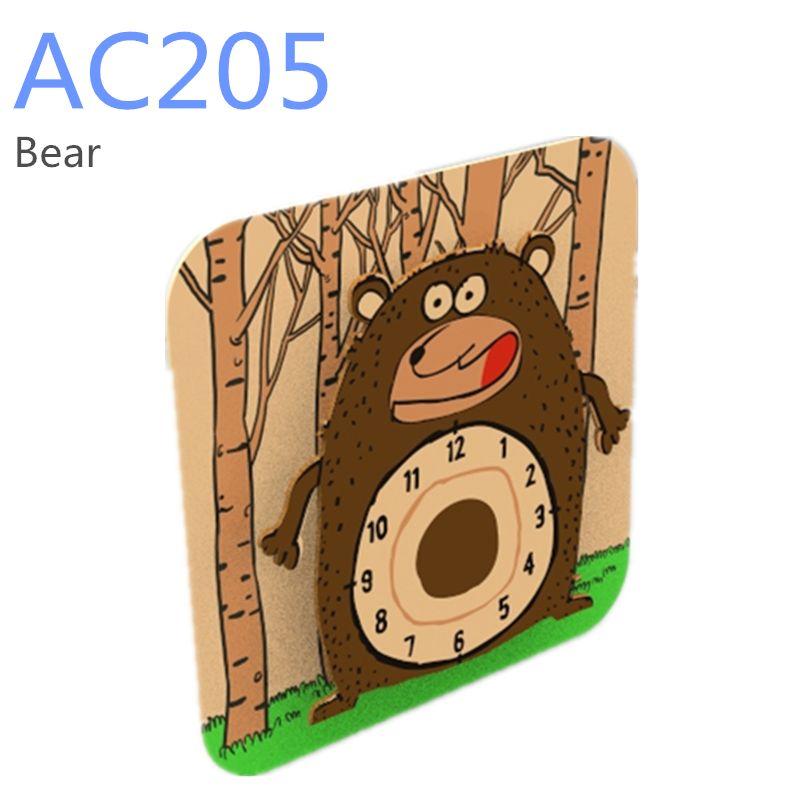 Dřevěné hračky RoboTime 3D puzzle hodiny se strojkem medvěd