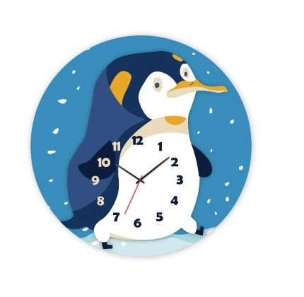 Dřevěné hračky RoboTime 3D puzzle hodiny se strojkem tučňák