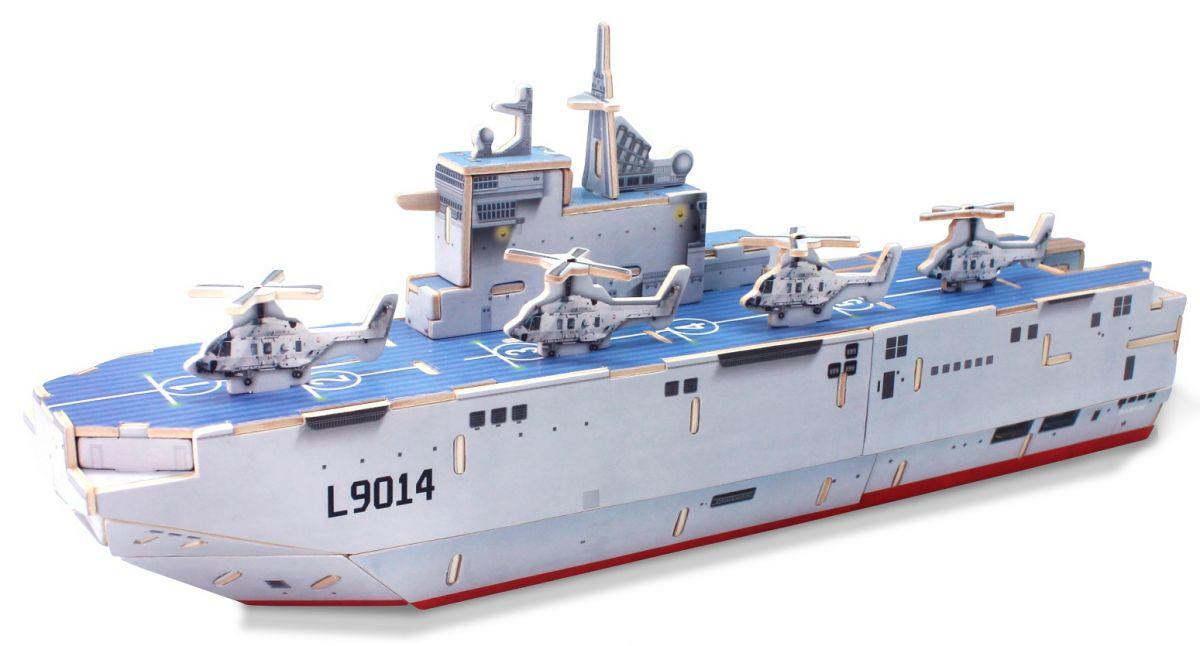 Dřevěné hračky Robotime dřevěná skládačka - Vrtulníková útočná loď Mistral