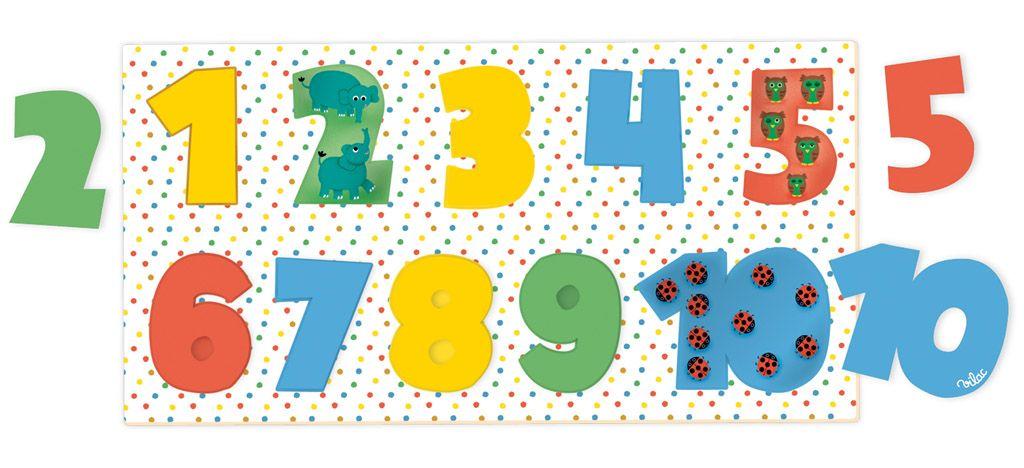 Dřevěné hračky Vilac Dřevěné vkládací puzzle čísla