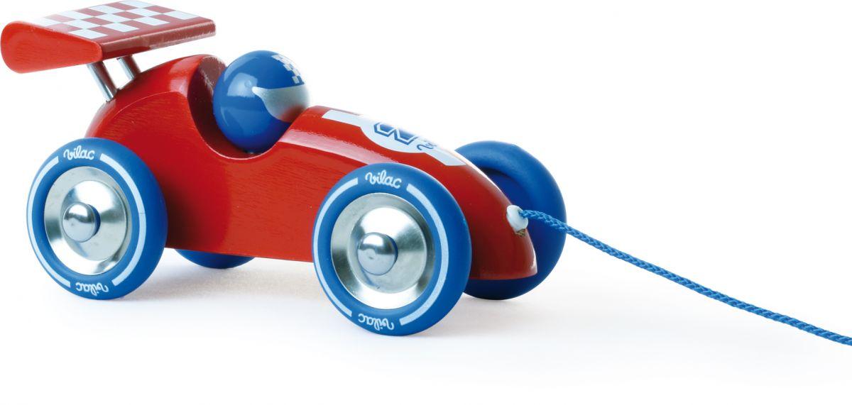 Dřevěné hračky Vilac Tahací závodní auto cervené s modrým křídlem