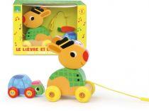 Vilac dřevěná hudební tahací hračka - Zajíc se želvou