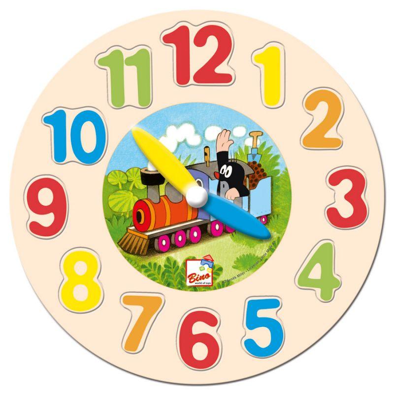 Dřevěné hračky Bino Dřevěné hodiny Krtek