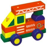 Dřevěné hračky - Motorické hračky - Skládací auto - jeřáb