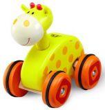 Dřevěné hračky - Tahací žirafa na kolečkách