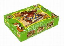 Dřevěné obrázkové kostky kubusy - Medvídek a kamarádi 12 ks