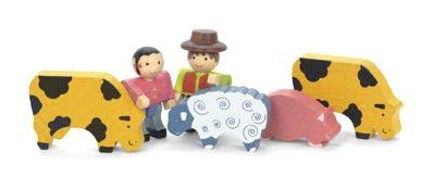Dřevěné hračky Jeujura Dřevěné figurky ke stavebnicím Farma 6 ks