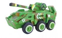 Dřevěné skládačky 3D puzzle - Transportér + barvy a štětec