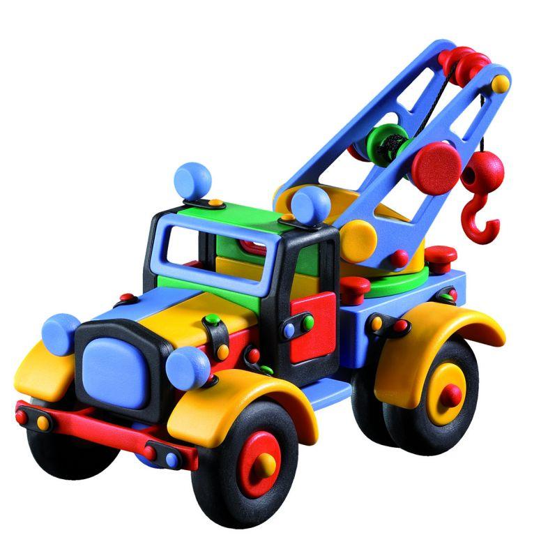Dřevěné hračky Mic-o-mic - Stavebnice - Velký vyprošťovací autojeřáb