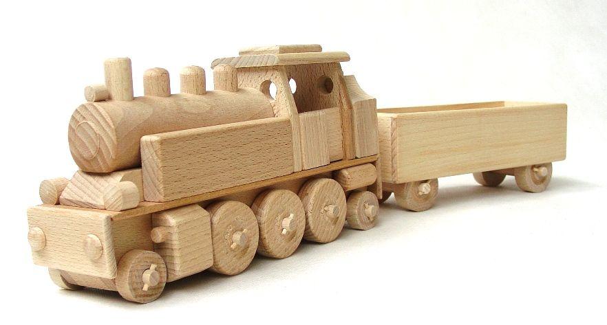 Dřevěné hračky Ceeda Cavity - dřevěný vláček - Parní lokomotiva s vagónem
