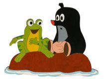 Dřevěné dekorace - Velká dekorace Krtek a žába