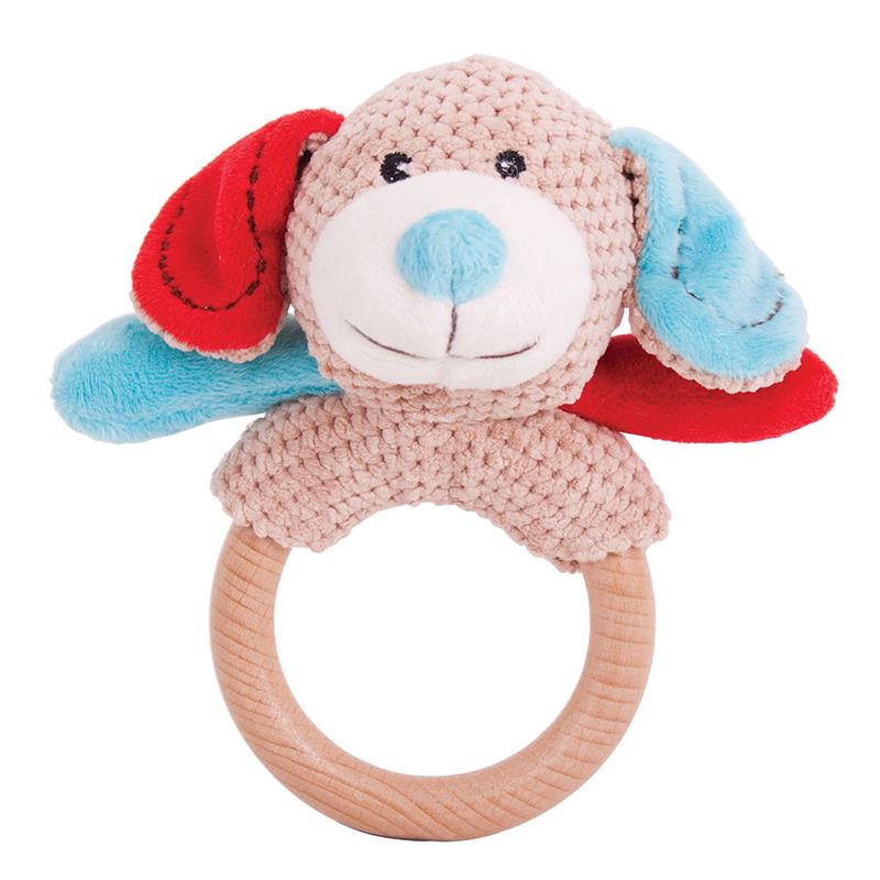 Dřevěné hračky Bigjigs Baby Chrastítko kroužek pejsek Bruno Bigjigs Toys