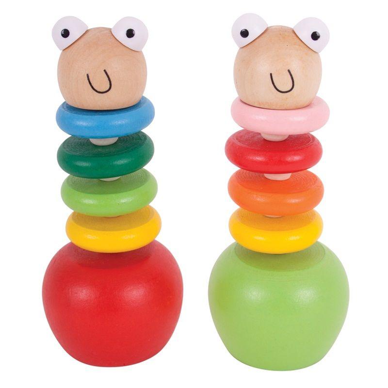 Dřevěné hračky Bigjigs Toys Barevný červík s jablíčkem