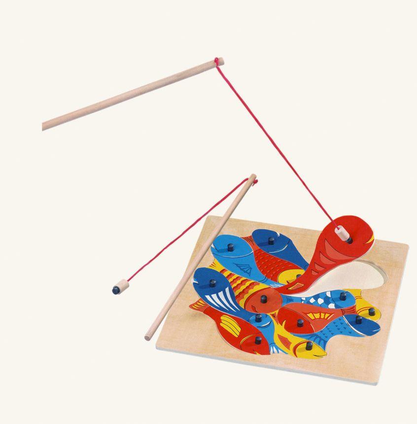 Dřevěné hračky Bino Magnetická hra puzzle rybičky s udičkou