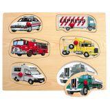 Dřevěné vkládací puzzle dopravní prostředky A